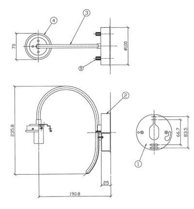 画像1: 丸型ブラケットライト138R グリーンモール