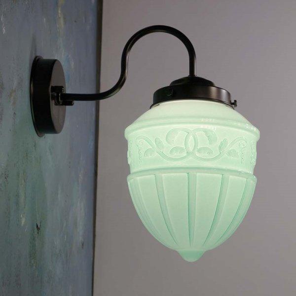 画像1: ブラケットライト レトロ1005 乳白グリーン (1)