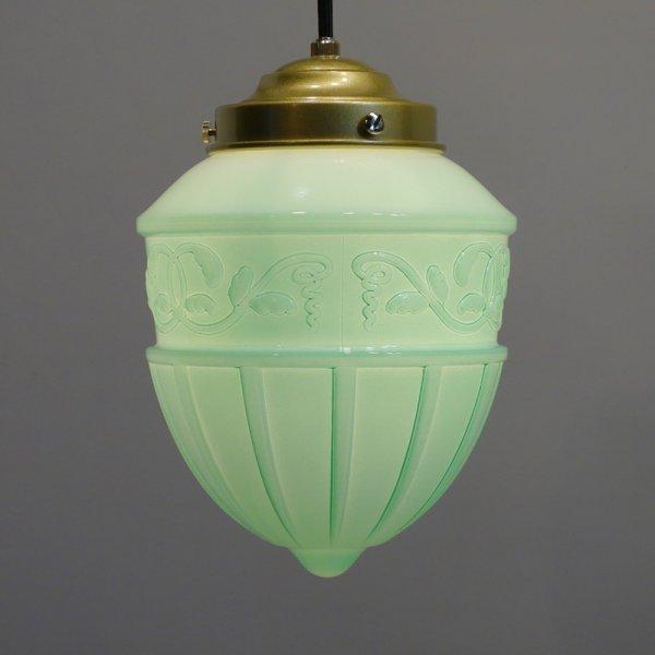 画像1: レトロペンダントライト1005 乳白グリーン (1)