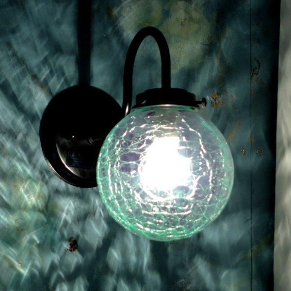 画像1: 丸型 ブラケットライト グリーンヒビ (1)