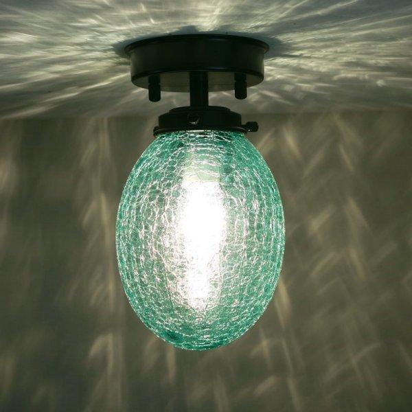 画像1: 直付け型ライト タマゴ型 ヒビグリーン (1)