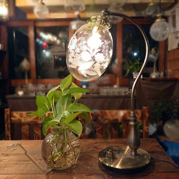画像1: 盛花切子 タマゴ型スタンドライト クリア (1)