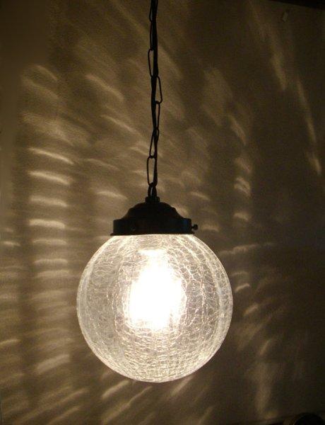 画像1: チェーン吊丸型200ペンダントライト ヒビクリア (1)