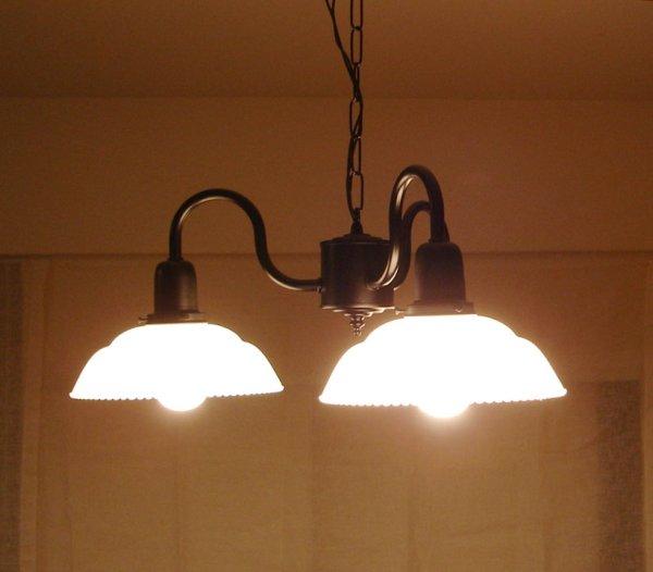 画像1: 3灯シャンデリア9901乳白 (1)